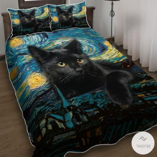 Black Cat Starry Night Bedding Set