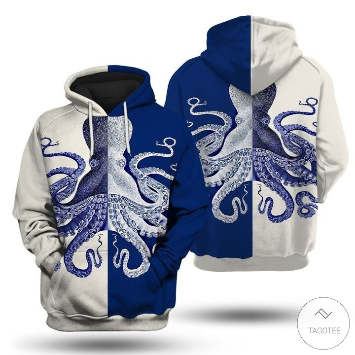 Blue and white octopus 3D hoodies