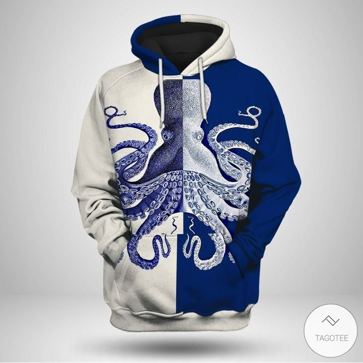 Blue and white octopus 3D hoodies2