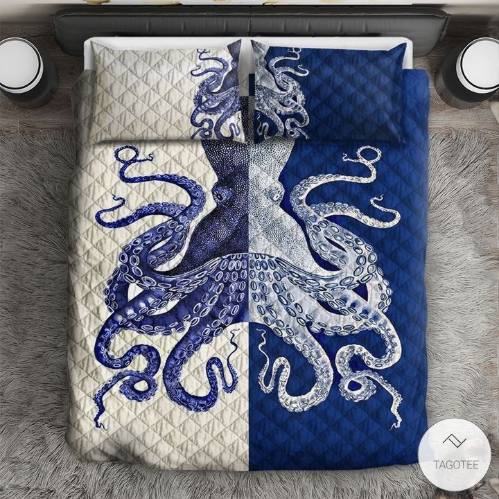 Blue and white octopus bedding sets