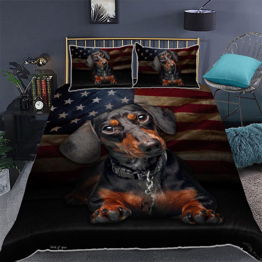 Dachshund American Flag Bedding Sets