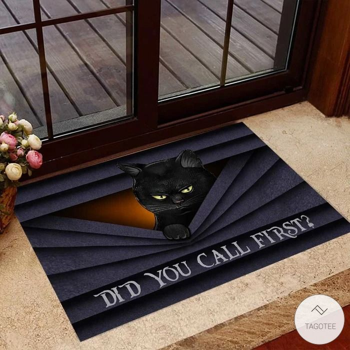 Did you call first Black cat Doormat