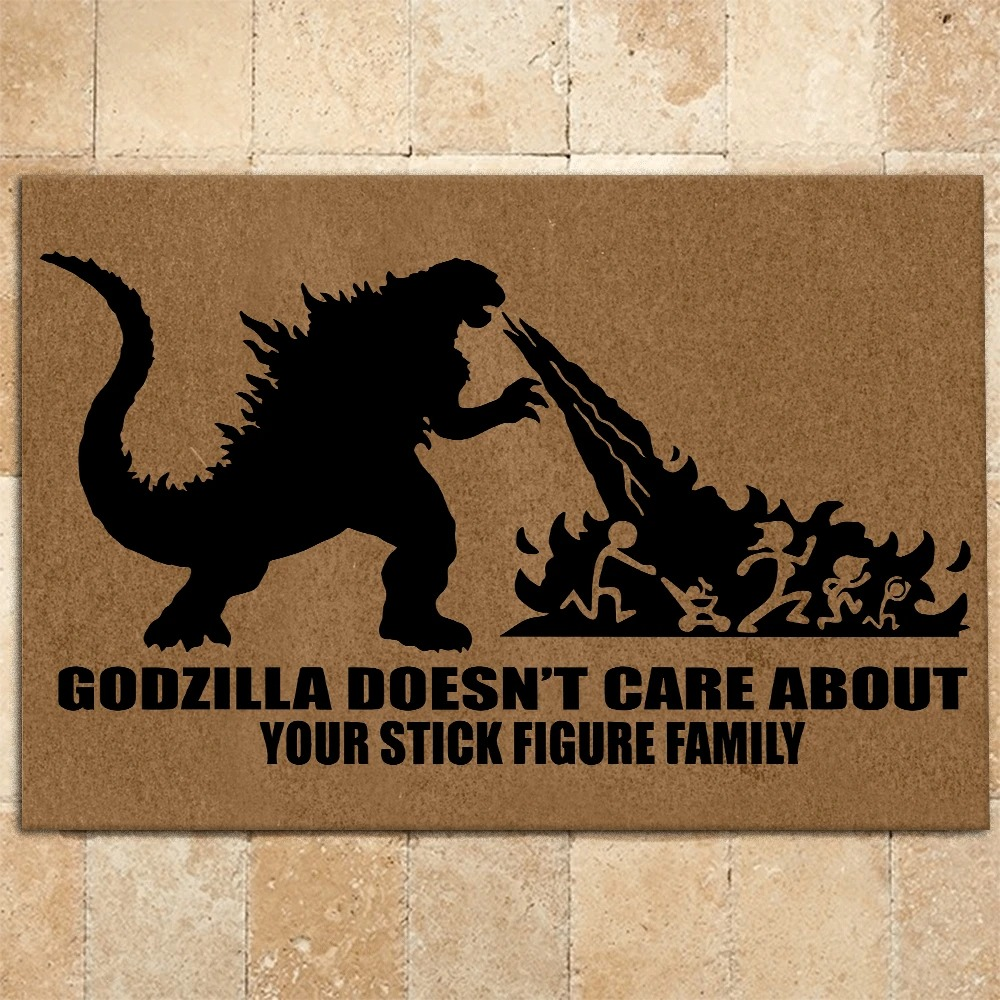 Godzilla Doesn't Care About Your Stick Figure Family Doormat