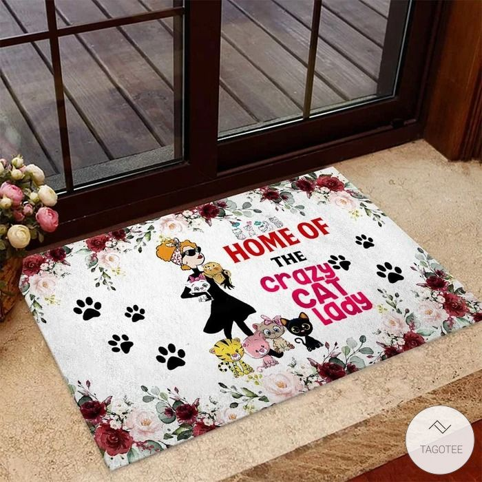 Home of the crazy cat lady Cat Doormat
