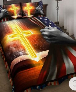 Jesus Christ American Flag Bedding Set_result