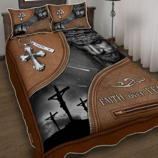 Jesus Christian Faith Over Fear Bedding Set