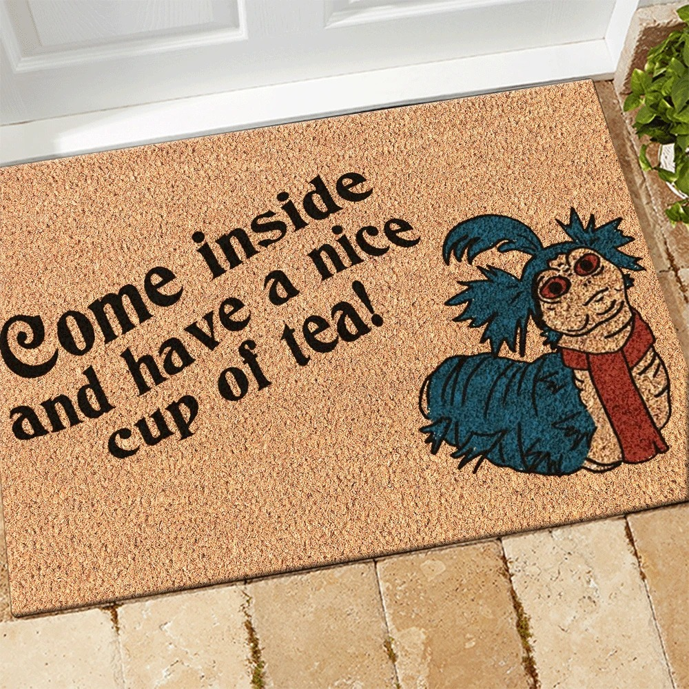 Labyrinth Worm Come inside and have a nice cup of tea doormat 1