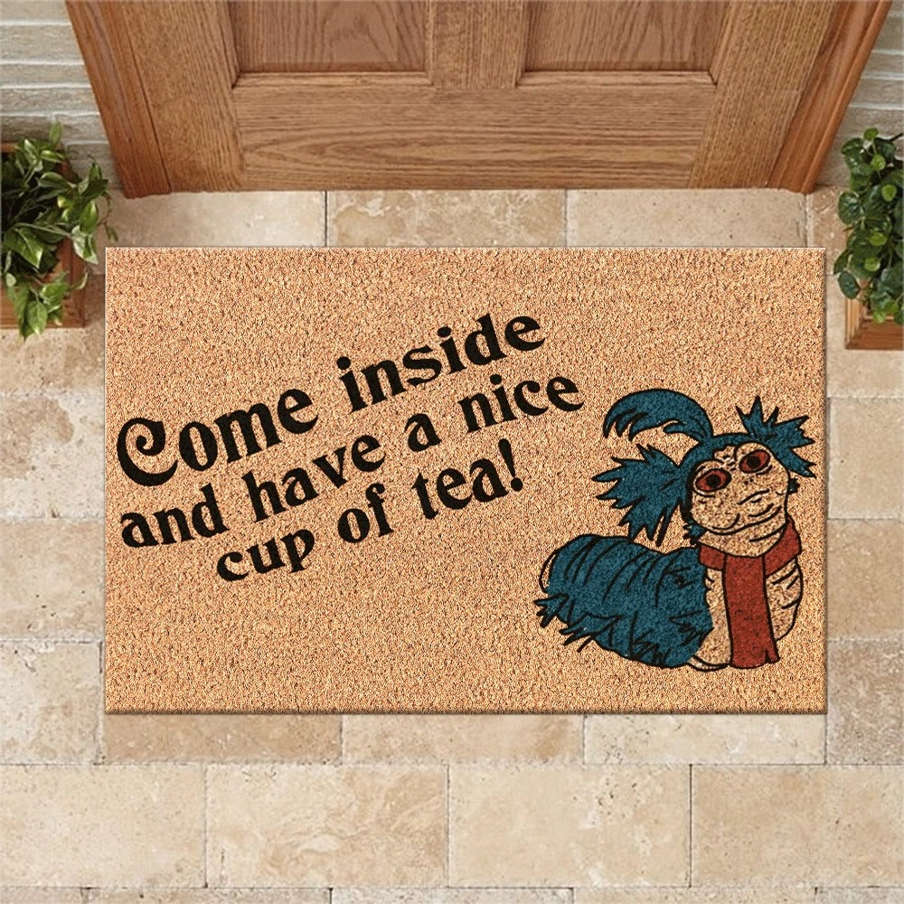 Labyrinth Worm Come inside and have a nice cup of tea doormat 2