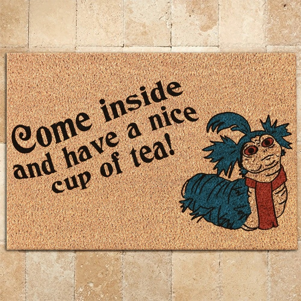 Labyrinth Worm Come inside and have a nice cup of tea doormat