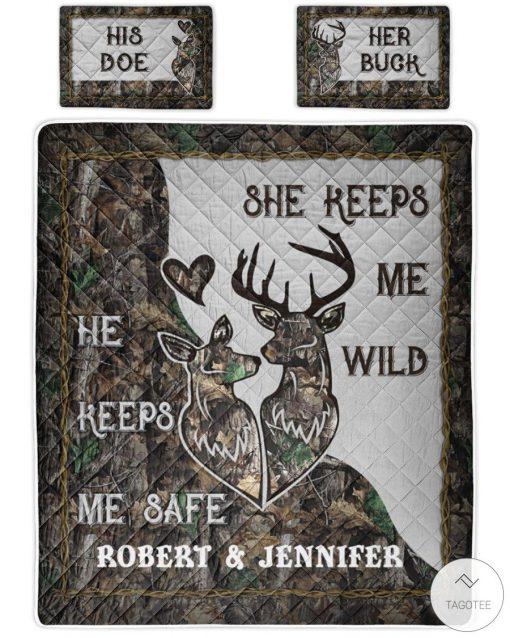 Personalized Deer Couple Camo He keeps me safe She keeps me wild bedding sets