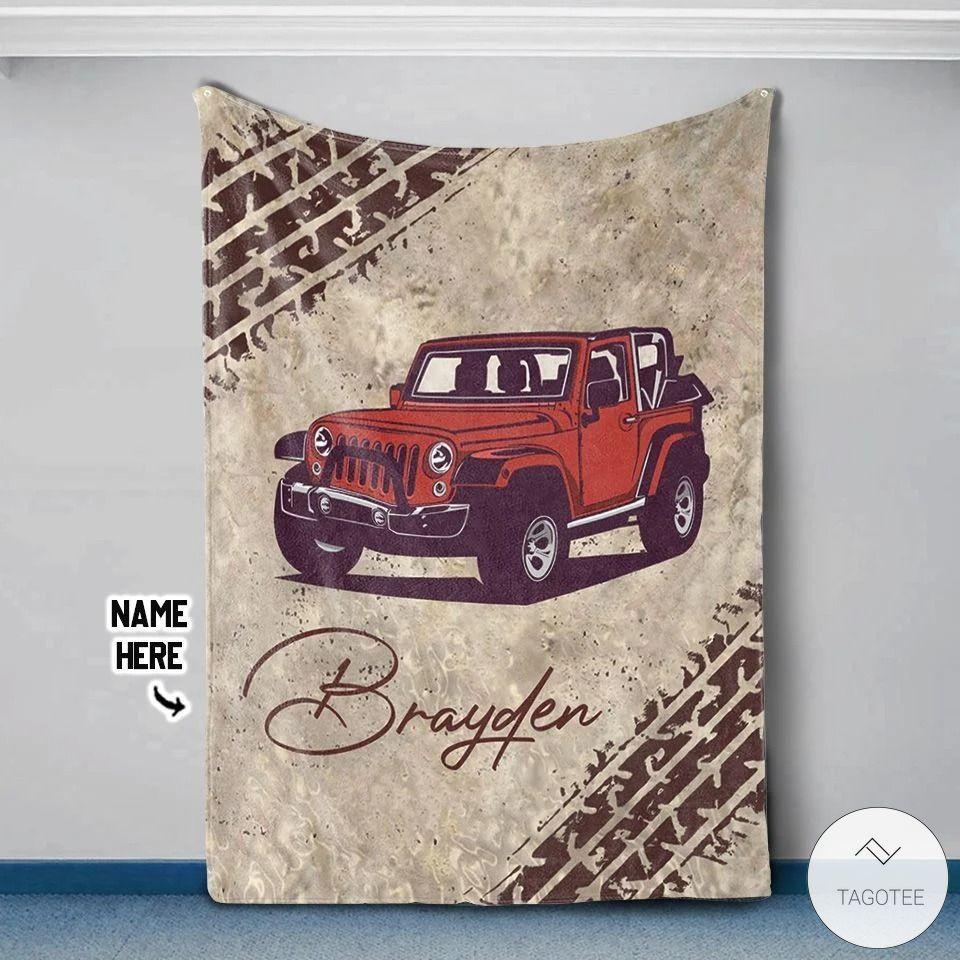 Personalized Jeep Vintage Fleece Blanket