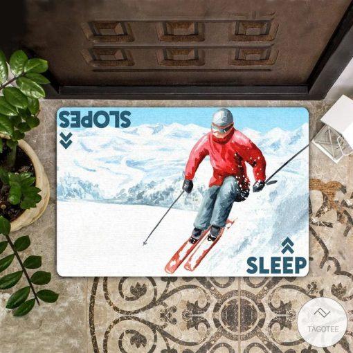 Sleep Slopes Skiing Doormat
