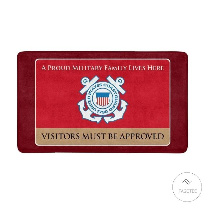 United States Coast Guard A Proud Military Family Lives Here Visitors Must Be Approved Doormat3