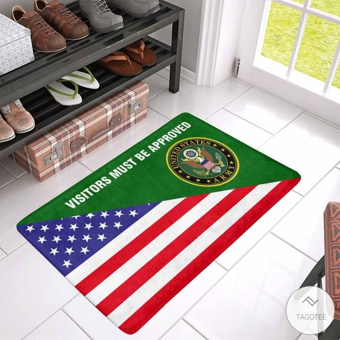 Us Flag And Army Logo - Visitors Must Be Approved Doormat