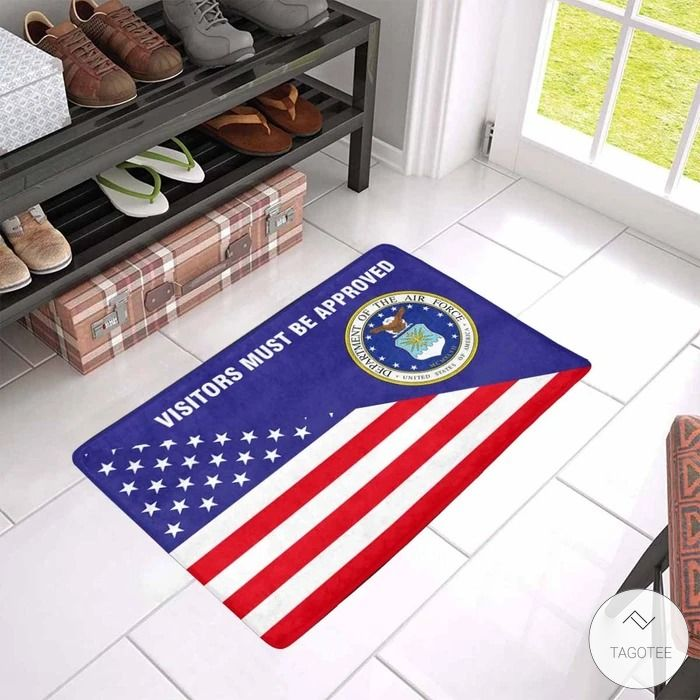 Us Flag And Us Air Force Logo - Visitors Must Be Approved Doormat2
