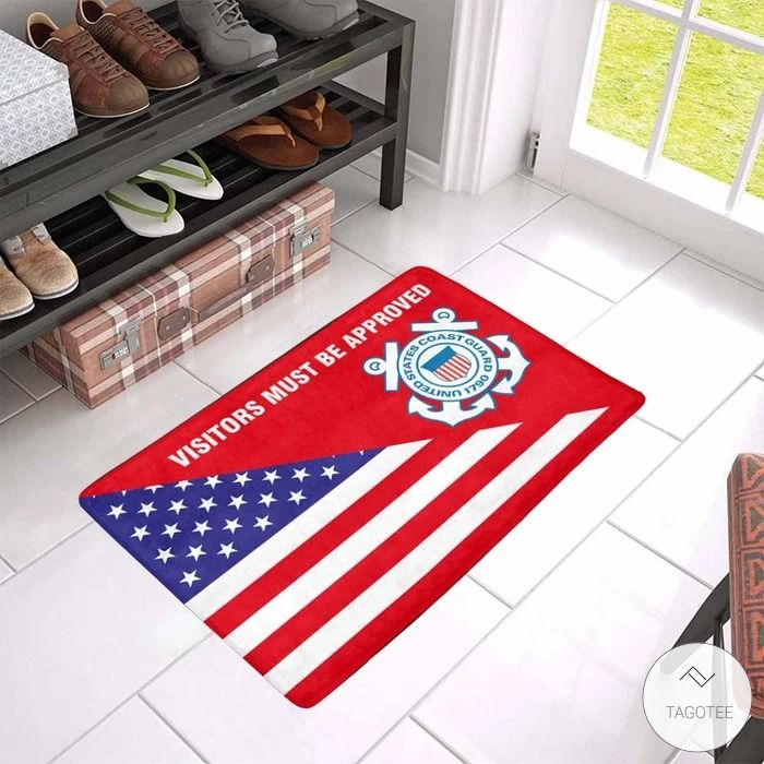 Us Flag And Us Coast Guard Logo - Visitors Must Be Approved Doormat2
