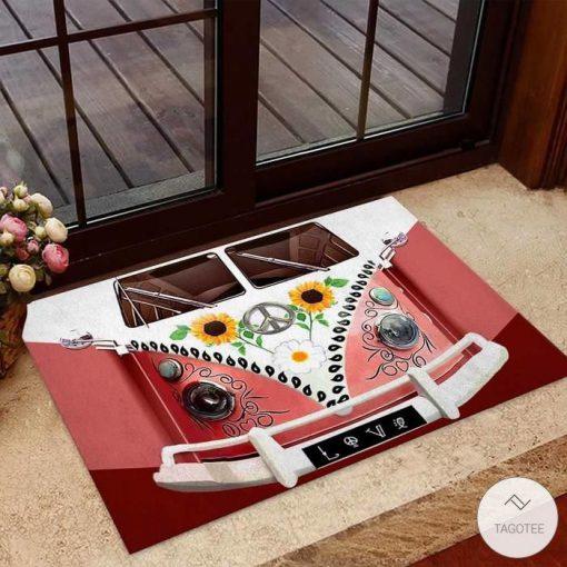 VW Volkswagen Hippie Bus Sunflower Doormat
