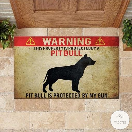 Warning This Property Is Protected By A Pit Bull Pit Bull Is Protected By My Gun Doormat2_result