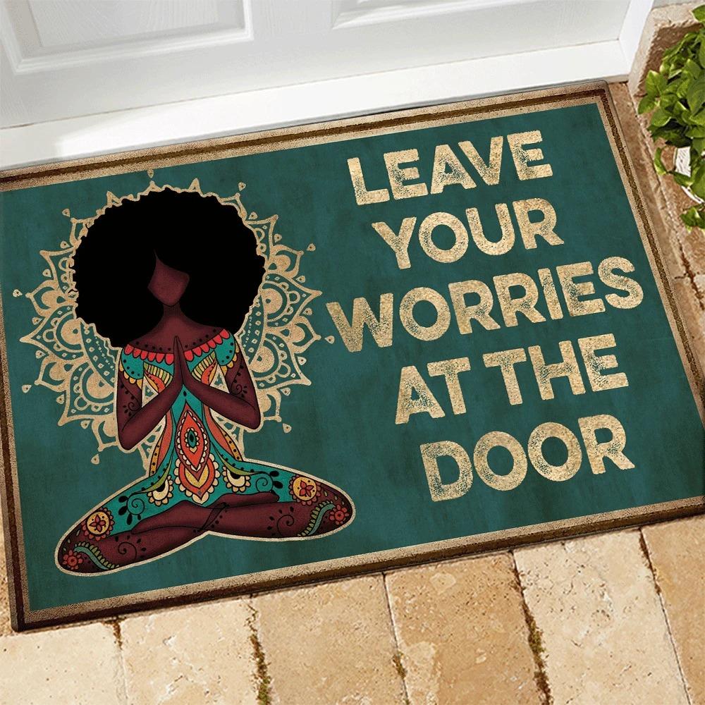 Yoga Leave Your Worries At The Door Doormat