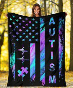 Autism Awareness American Flag Fleece Blanket