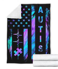 Autism Awareness American Flag Fleece Blanketc