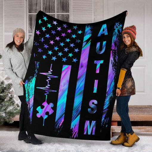 Autism Awareness American Flag Fleece Blanketx
