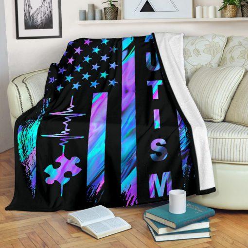 Autism Awareness American Flag Fleece Blanketz