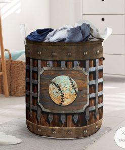 Baseball Metal Pattern Print Laundry Baskets