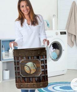 Baseball Metal Pattern Print Laundry Baskets 3