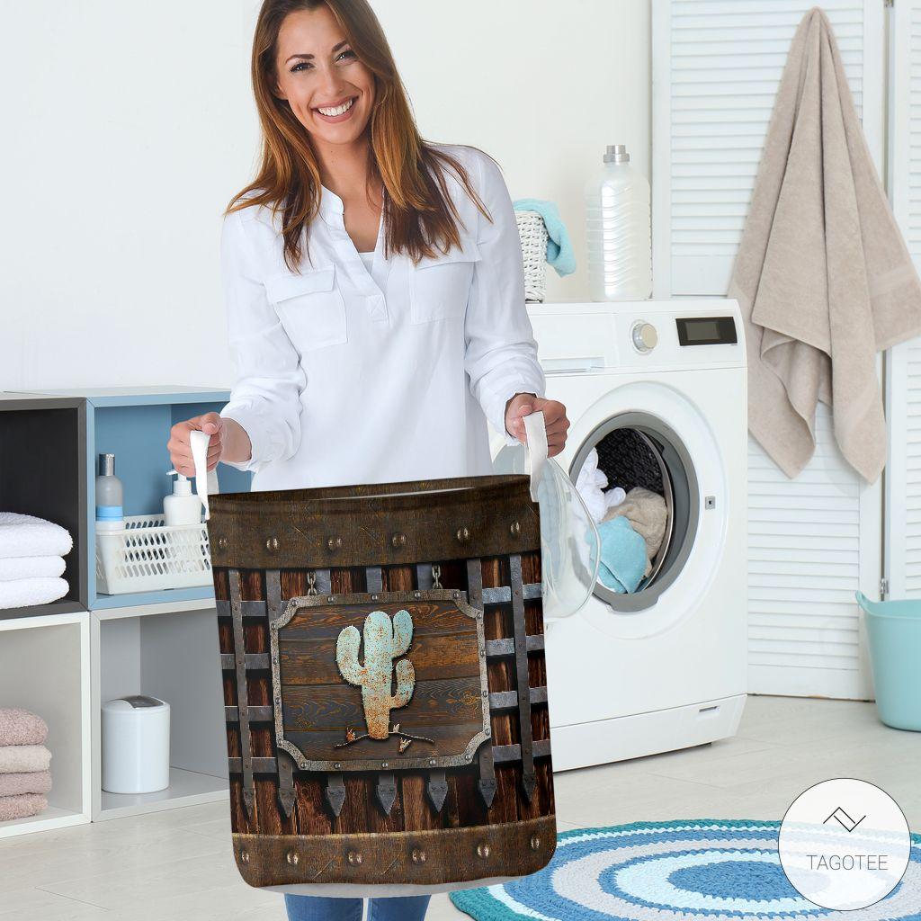 Cactus Iron Vintage Laundry Basket3