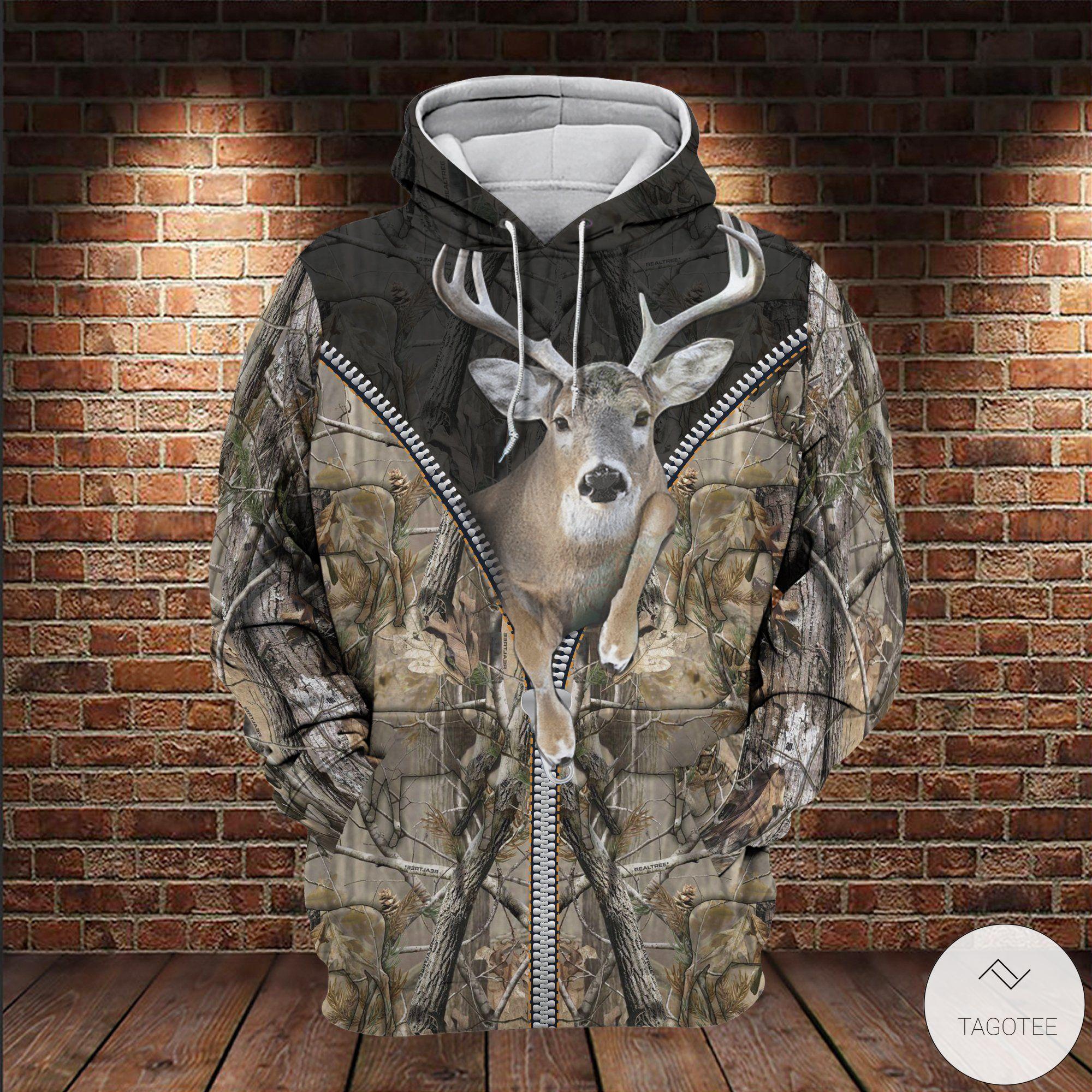 Deer Hunting Camouflage Zipper 3D All Over Print Hoodie