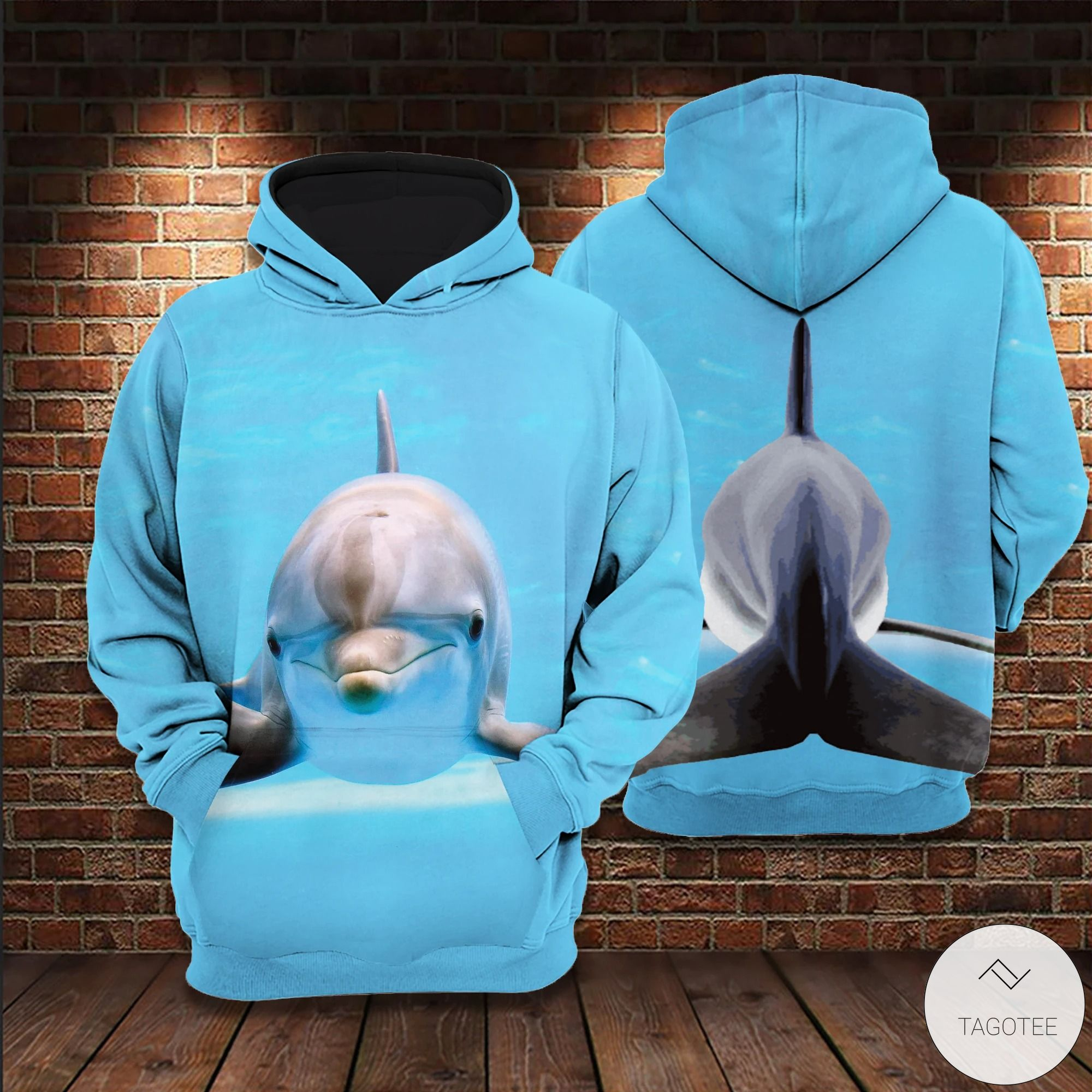 Dolphin Water Blue 3D All Over Print Hoodie