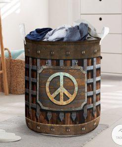 Hippie Symbol Iron Vintage Laundry Basket