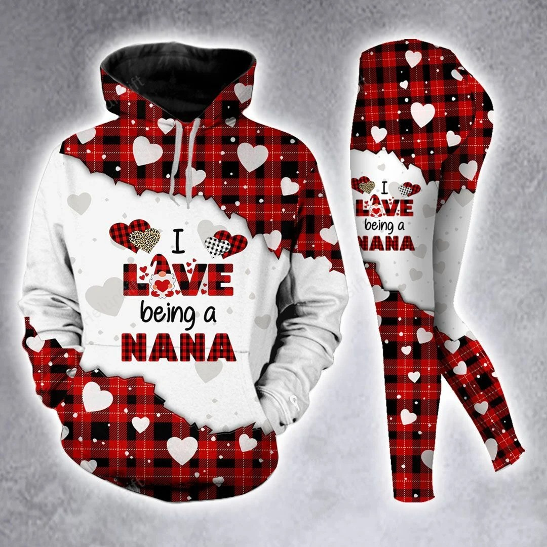 I love being a nana Red Buffalo Plaid 3D Hoodie and legging