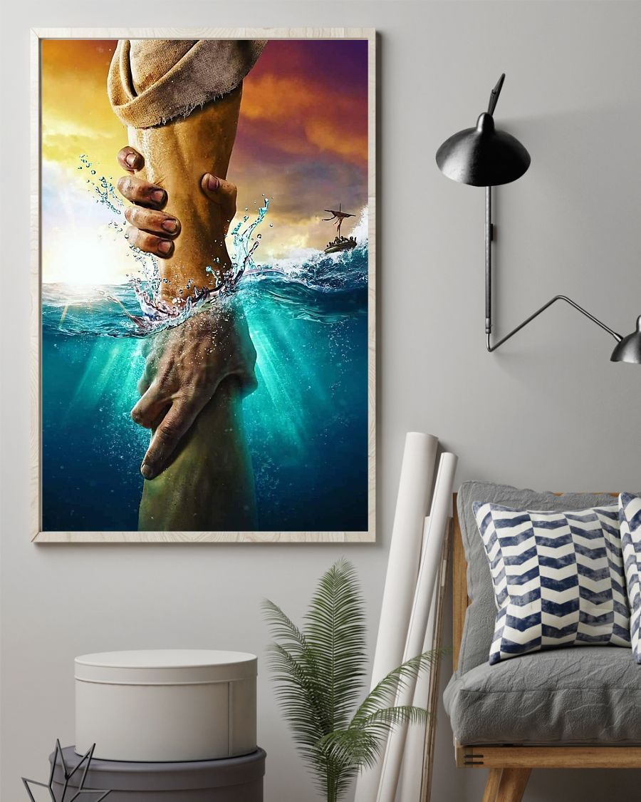 Jesus - Hand Sea Poster