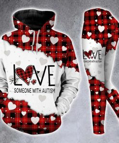 Love someone with autism Red Buffalo Plaid 3D Hoodie and legging