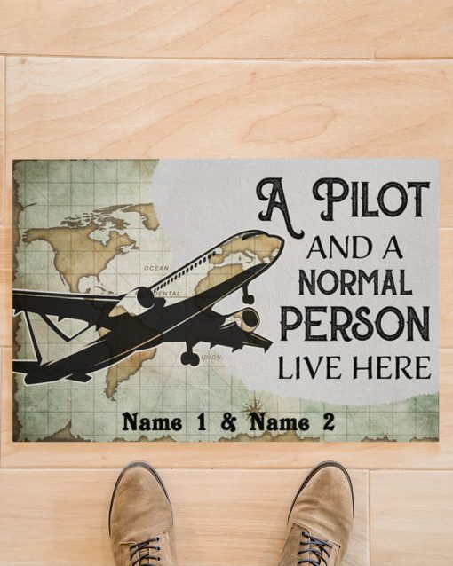 Personalized A pilot and a normal person live here doormatx