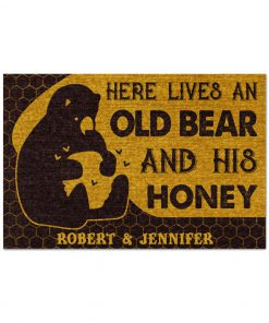 Personalized Here lives an old bear and his honey doormat