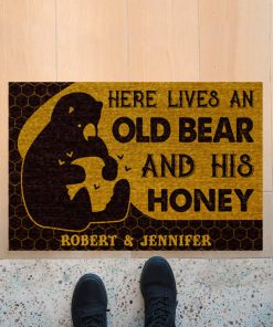 Personalized Here lives an old bear and his honey doormatc