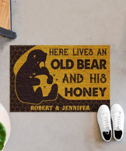 Personalized Here lives an old bear and his honey doormatx
