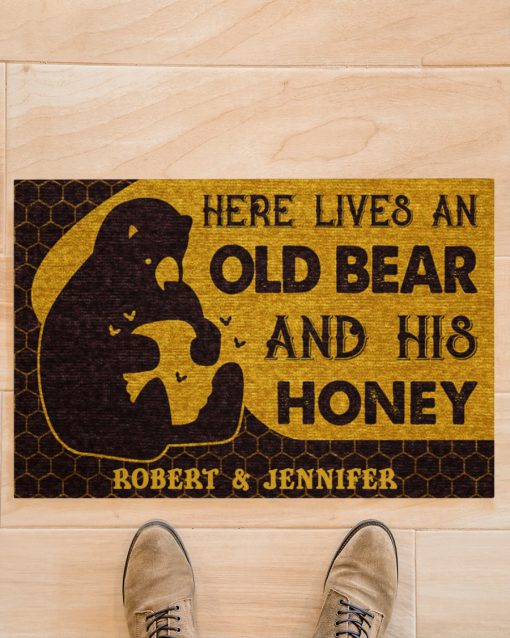 Personalized Here lives an old bear and his honey doormatz