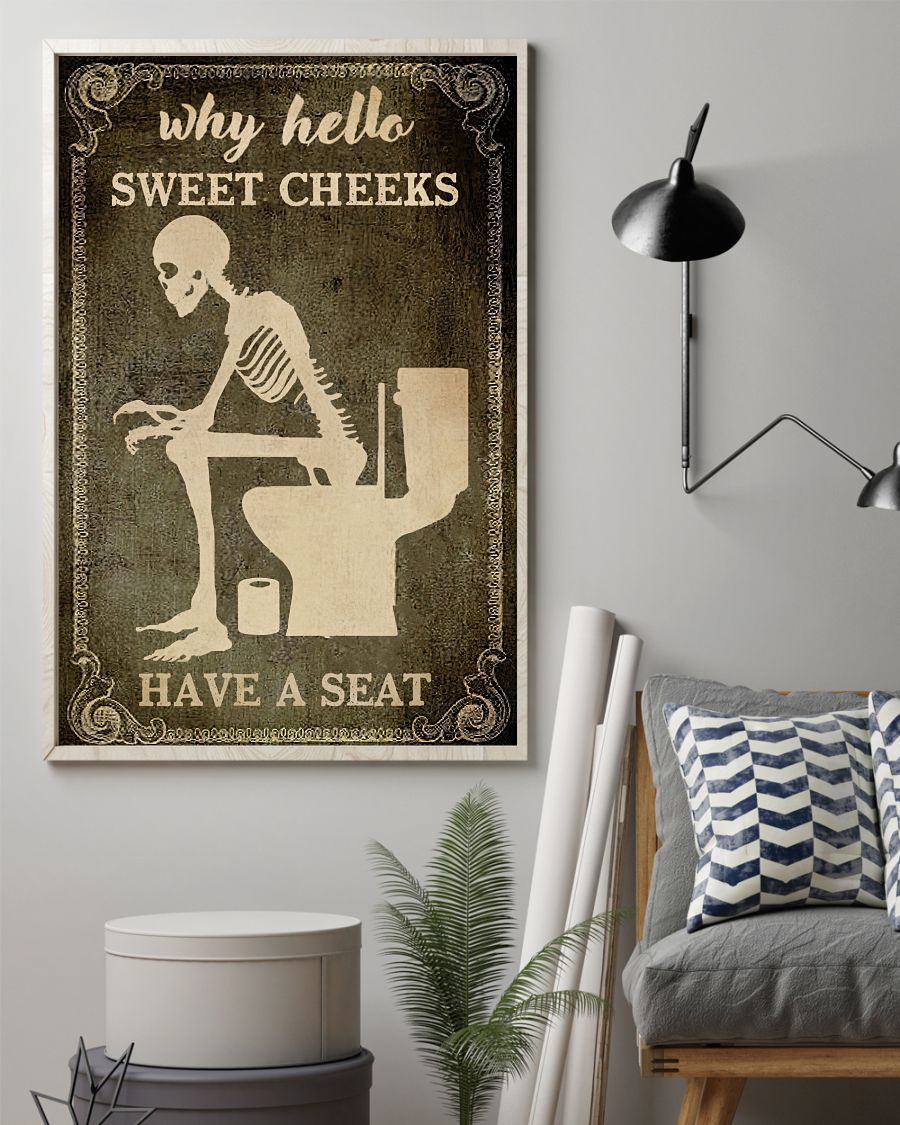 Skeleton Toilet Why Hello Sweet Cheeks Have A Seat Poster2