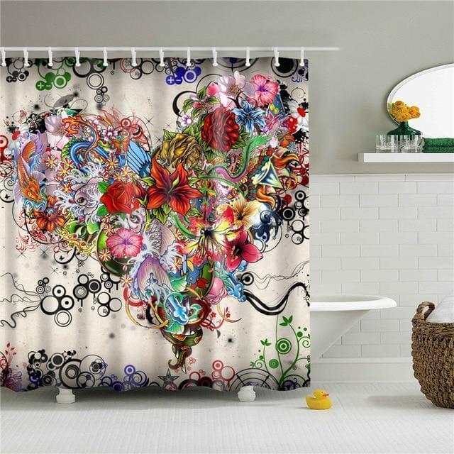 Tattoo Art Flowers Shower Curtain
