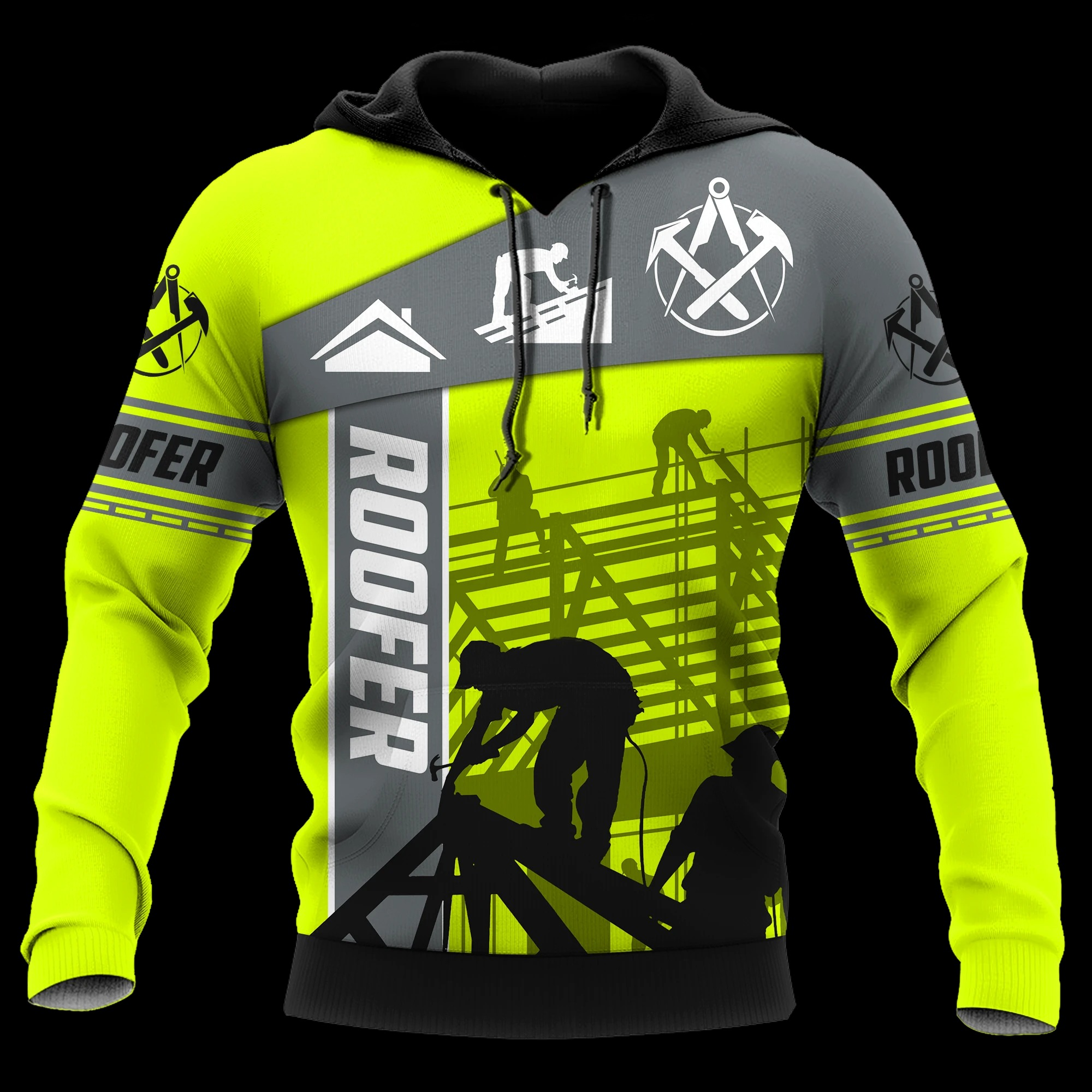 The Roofer Green 3D All Over Printed Hoodie
