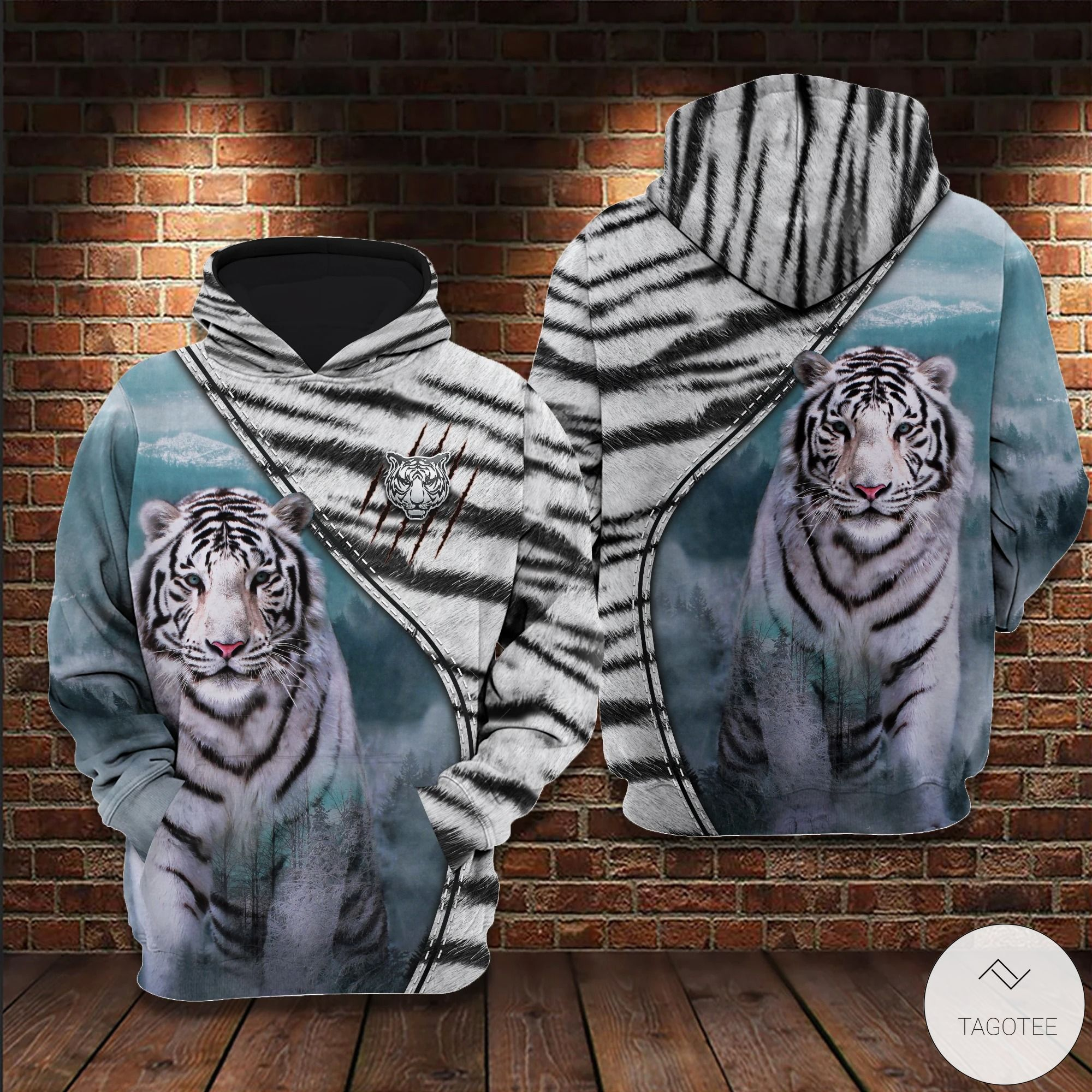 White Tiger 3D All Over Print Hoodie