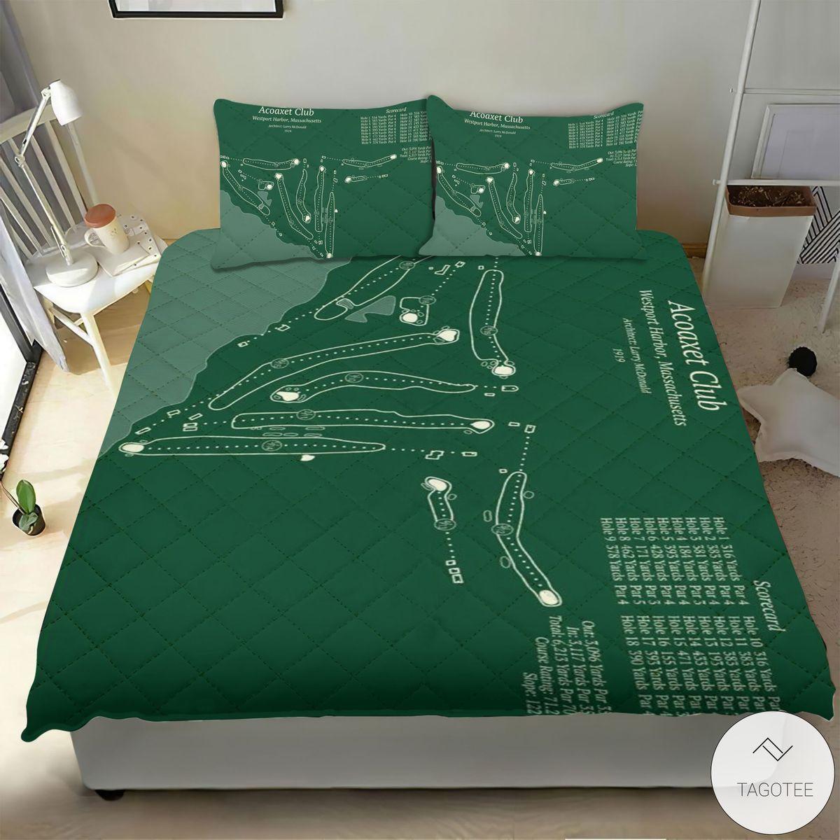 Acoaxet Club Map 3D Quilt Bedding Setx