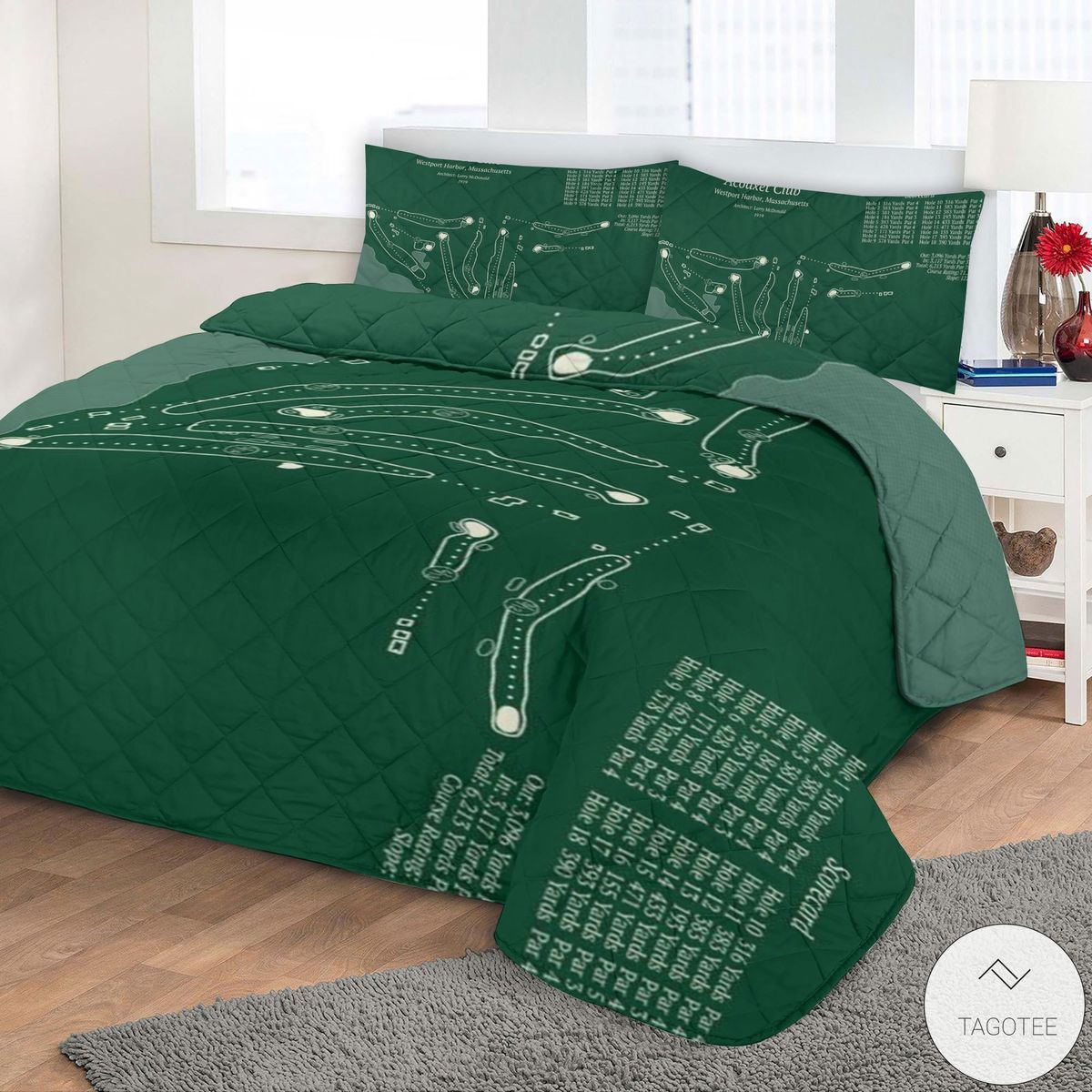 Acoaxet Club Map 3D Quilt Bedding Setz