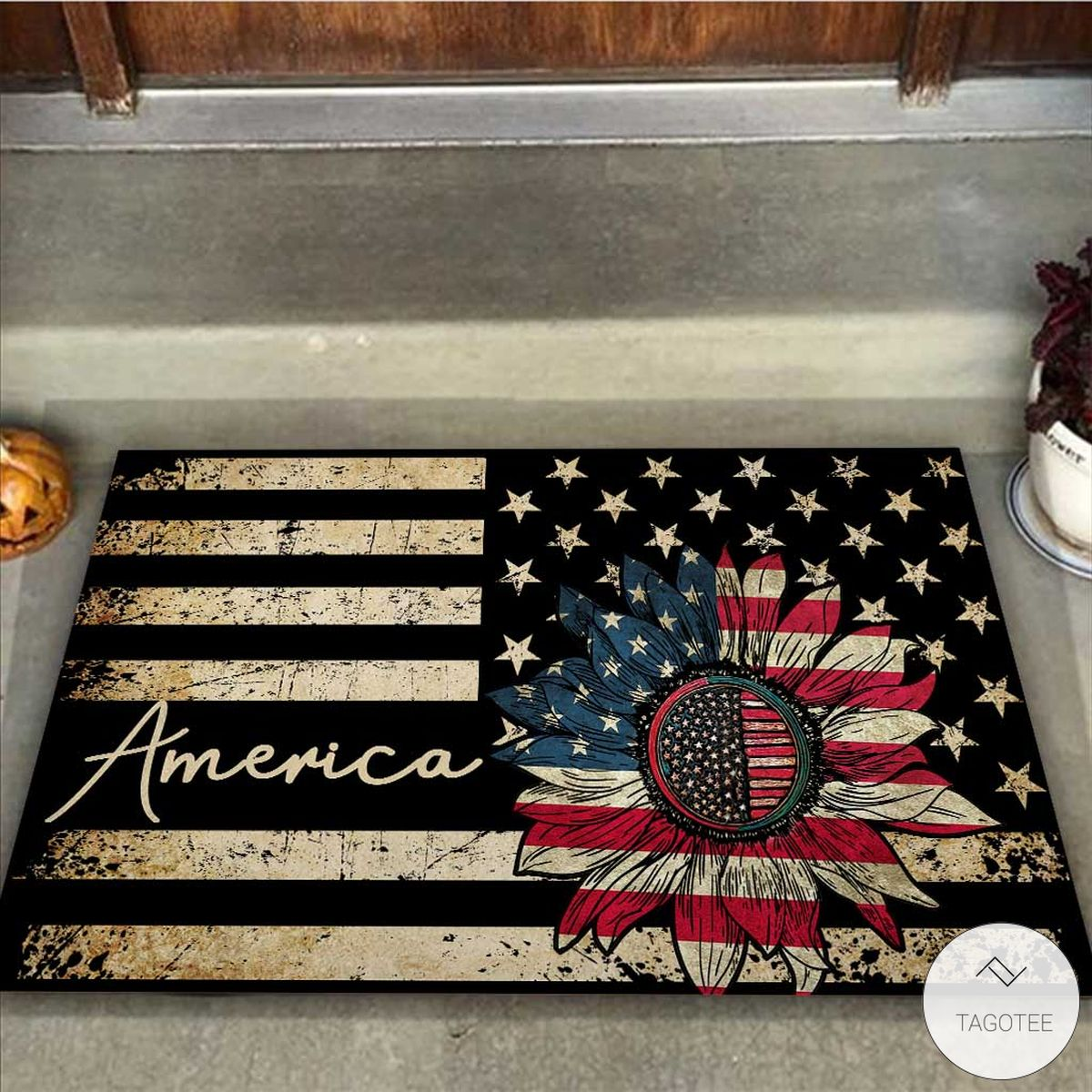 America Flag Sunflower Vintage Doormatz