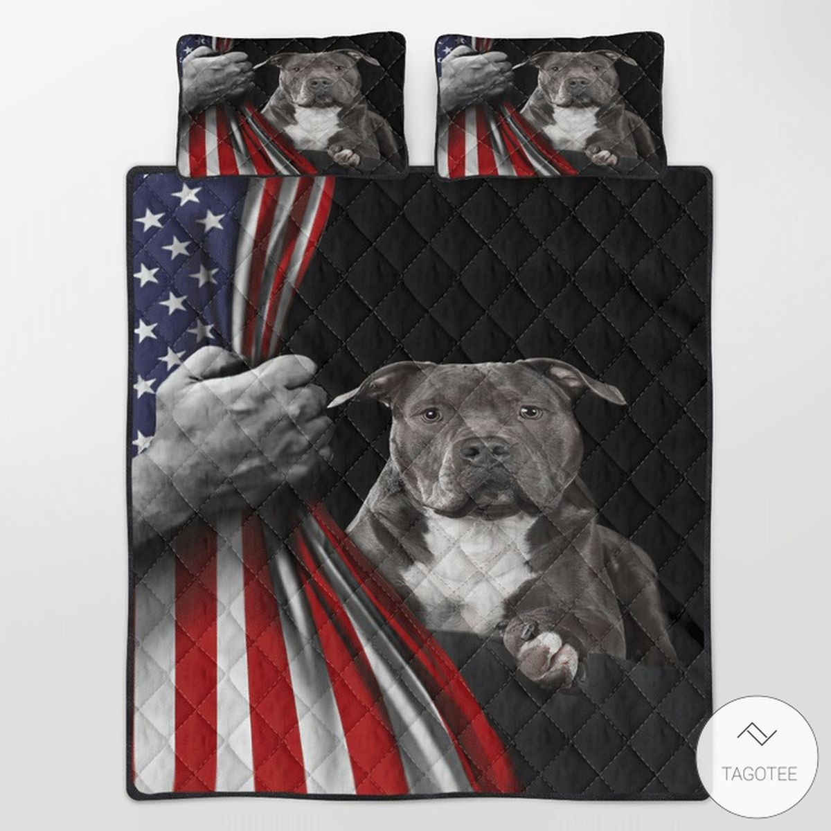 American Staffordshire Terrier American Flag Quilt Bedding Set