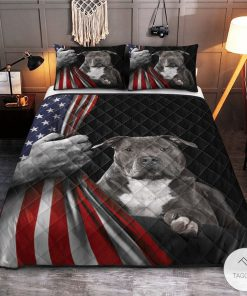 American Staffordshire Terrier American Flag Quilt Bedding Setz